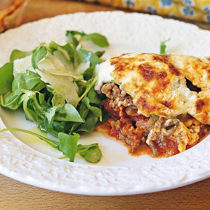 """Smakrik lasagne med getost och chili från kokboken """"Aldrig mera banta"""". Servera med en grönsallad."""
