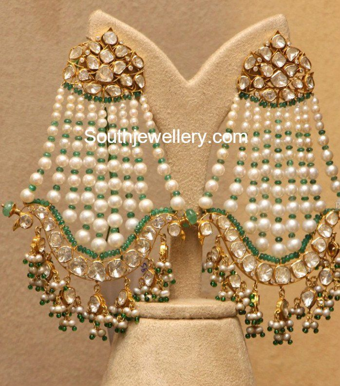 Flat Diamond and Pearls Chandbalis photo