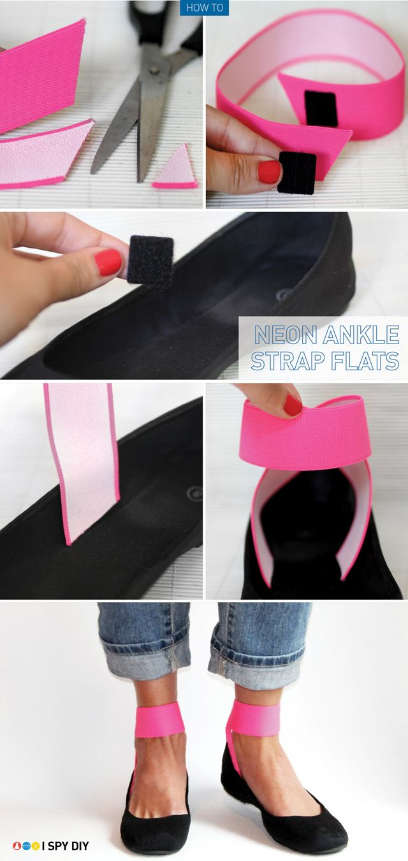 I Spy DIY: [MY DIY] Neon Strap Flats