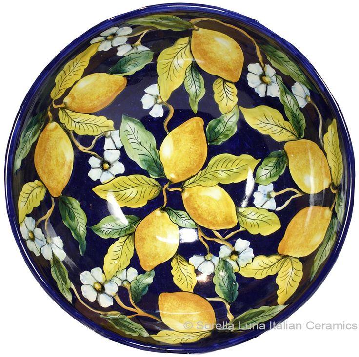 Italian Ceramic Majolica Blue Lemon Bowl