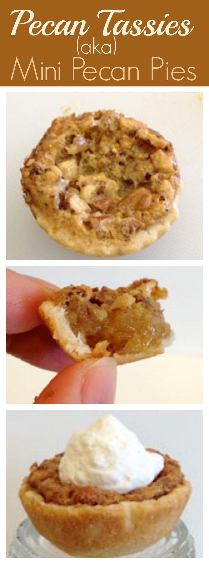 Yum!! Pecan Tassies (aka mini pecan pies) - perfect for the holiday dessert table!