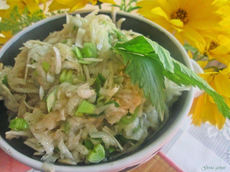 Gosia gotuje: Surówka z selera , jabłka i pora do obiadu