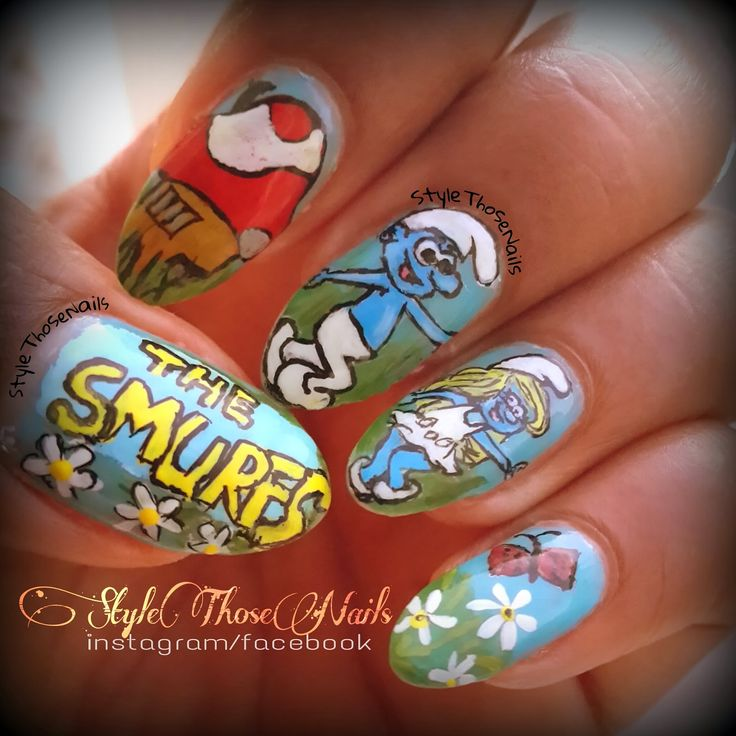 Style Those Nails: The Smurfs- Smurf and Smurfette Nail Art