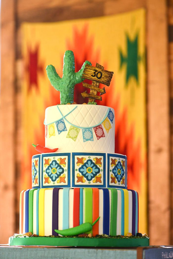 Fiesta cactus cake from a Mexican Birthday Fiesta on Kara's Party Ideas | KarasPartyIdeas.com (23)