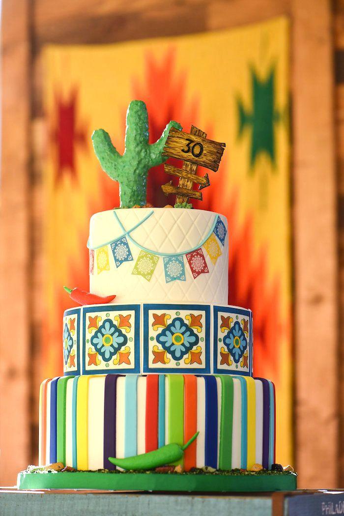 Fiesta cactus cake from a Mexican Birthday Fiesta on Kara's Party Ideas | KarasPartyIdeas.com (23)