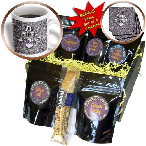 InspirationzStore Occasions - 10th Wedding Anniversary gift - Tin bits photo celebrating 10 years together tenth anniversaries ten - Coffee Gift Baskets - Coffee Gift Basket (cgb_154442_1)
