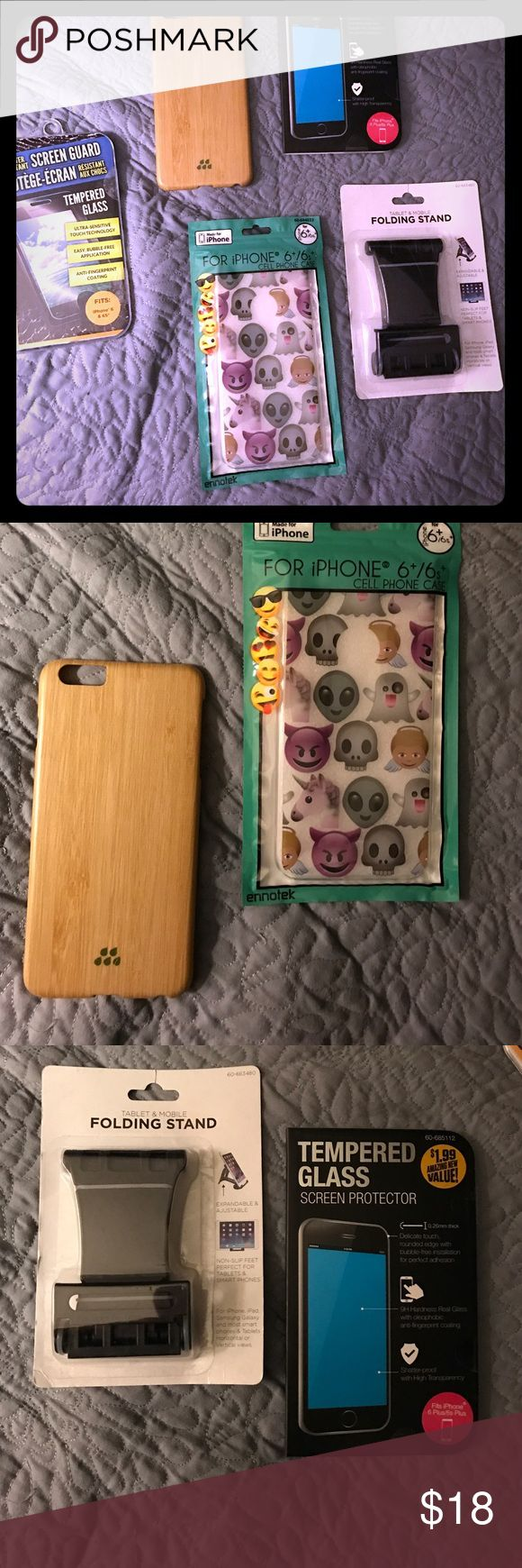 IPhone 6+ lot. 2 cases, 1 screen protector&1 stand Lot of IPhone 📱 6+ accessories. Just got the IPhone 6+ in May, so the Bamboo case is in good shape and saved its life a number of times. That case cost $45 alone. All other items are NWT. Extra screen protector. Stand. Acrylic emoji case. There is also another NWT protector for an iPhone 6&6s because I thought they were the same as 6+. Got the new iPhone 📱 7& none of these fit. Various Accessories Phone Cases