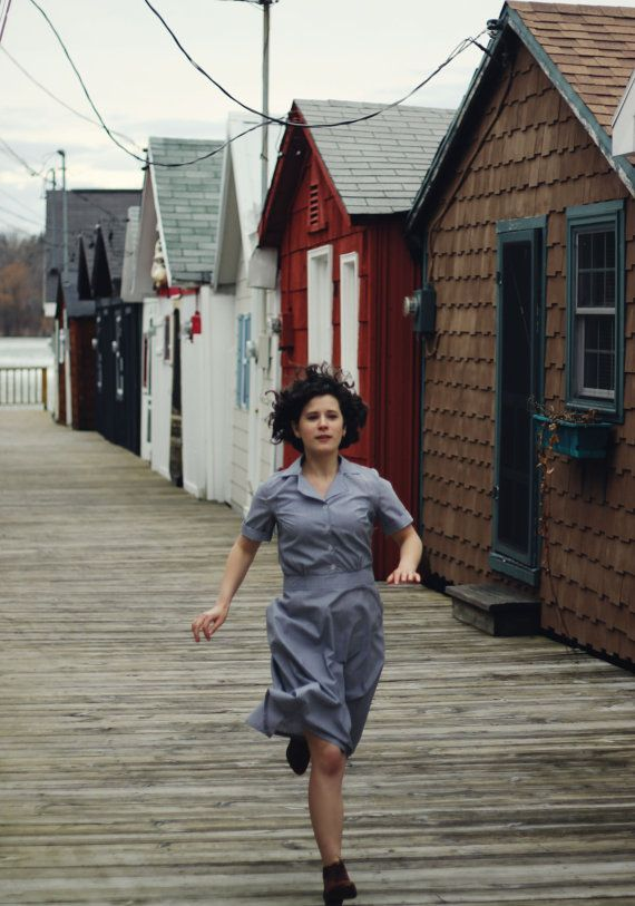 State Fair 1935 // Chambray / Yaz Elbise / Womens Elbise / Kadın giyim / elbise bağbozumu / Gri Mavi Elbise / 1930 1940'lar Elbise