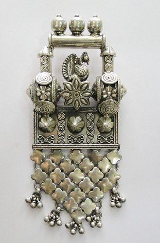 Vintage Antique 925 Sterling Silver Pendant Amulet Necklace Rajasthan India