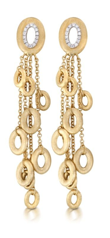 NANIS ~ 18k yellow gold mat finished oval-shaped earrings