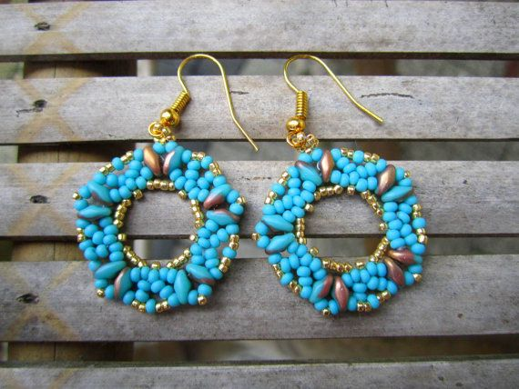 Beadwoven turquoise golden earrings. Turquoise by ViaKalina