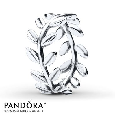 Symbol of victory, the laurel leaf motif in this sterling silver ring from the Pandora Autumn 2014 collection is shaped like a wreath. Additional sizes may be available through special order at your nearest Jared location. Style # 190922-54.