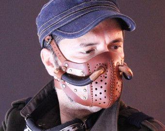 Steampunk mascarilla, máscara de cuero - post de Burning Man - cosplay Halloween Mask - mascarilla - LARP - máscara de Cyberpunk - - apocalíptico - gas