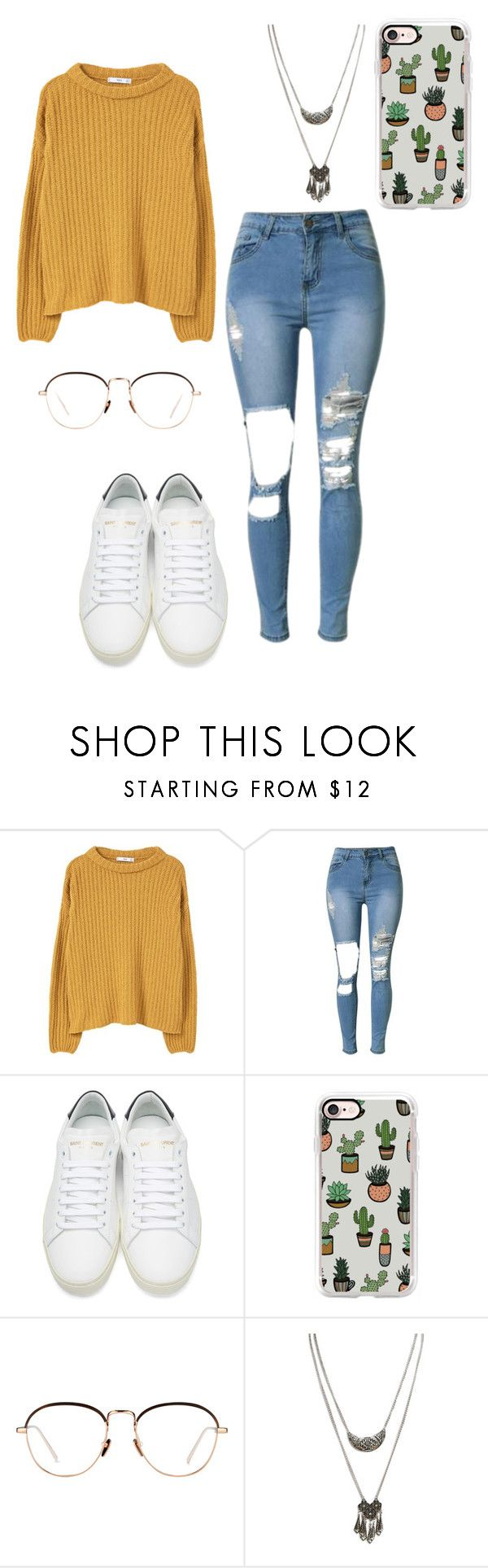 """""""plants r friends"""" by motelmoney ❤ liked on Polyvore featuring MANGO, Yves Saint Laurent, Casetify, Linda Farrow and Wet Seal"""