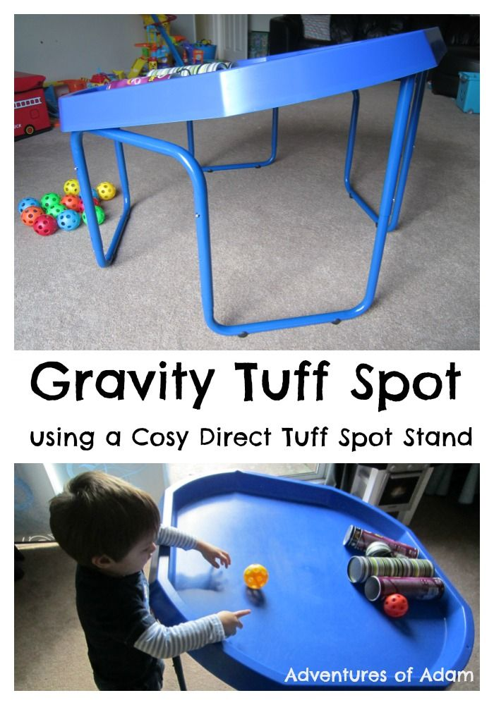 Gravity Tuff Spot Stand. Angle your Tuff Spot Stand (ours was from Cosy Direct) to test out gravity for pre-schoolers | http://adventuresofadam.co.uk/gravity-tuff-spot/