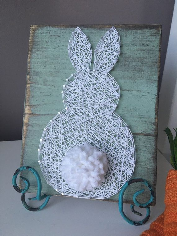 Fluffly Bunny String kunst van GirlwithGlue op Etsy
