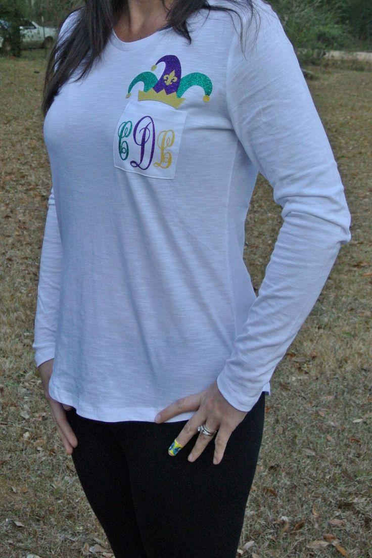 Mardi Gras Monogram Shirt with Jester Hat by ChristinaDickson on Etsy https://www.etsy.com/listing/219886809/mardi-gras-monogram-shirt-with-jester