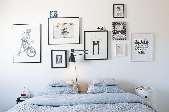 Bilder, Sovrum, Lampa, Kuddar, Säng, Tavlor - Hemnet Inspiration