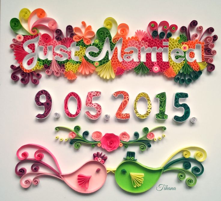 Quilling Just Married, quilling letters, quilling birds, gift for wedding, quilling by Tihana Poljak