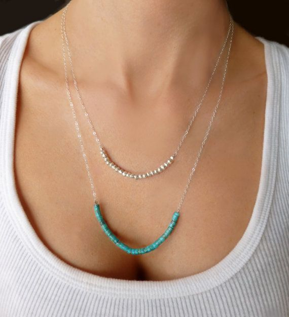 Turquoise Multi Strand Necklace - Turquoise & Pyrite Double Strand Beaded Necklace - 14k Gold Layered Necklace - Sterling Long Necklace Gift...