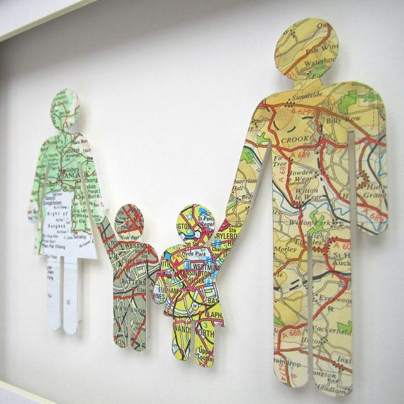 Easy craft project for or with the kids... mapping out the family tree.  With maps!
