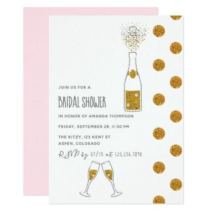 Champagne glitter bubbles Bridal Shower Invitation - glitter gifts personalize gift ideas unique