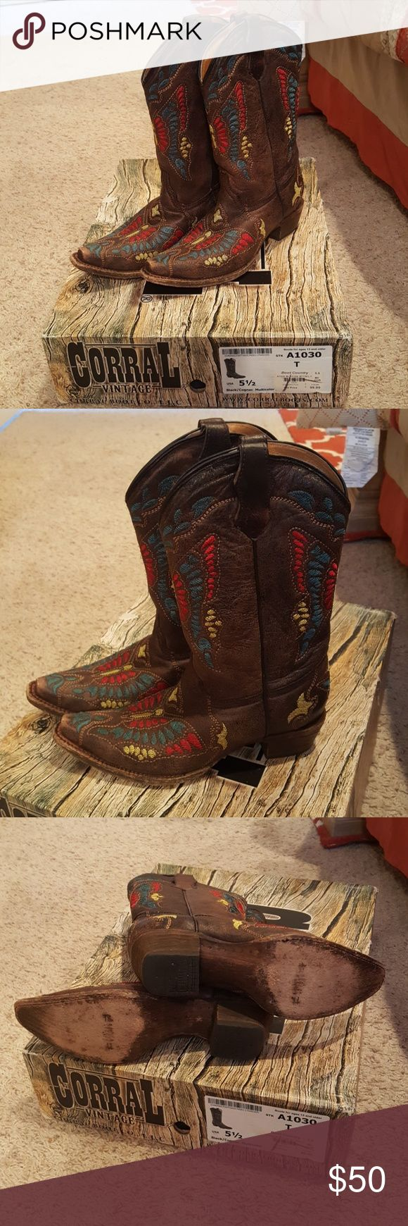 Corral Vintage Boots A pair of Corral Vintage dark brown butterfly design cowgirl boots..size 5 1/2 ...very good condition Corral Vintage Shoes Heeled Boots