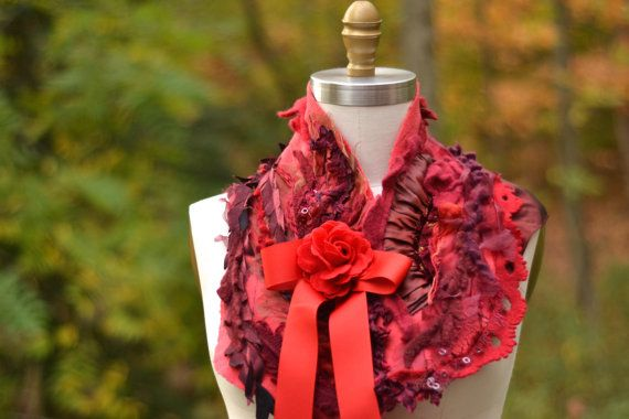 Red maroon Capelet/Bolero/ Shrug/ Refashioned boho by amberstudios