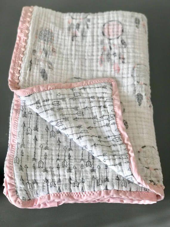 Dream Catcher Arrow Muslin Quilt Etsy Burp Cloths Diy Throw Quilt Sewing Patterns For Kids