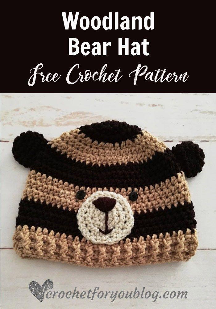 Crochet Woodland Bear Hat Free Pattern en 2018   BEANIE\'S ...