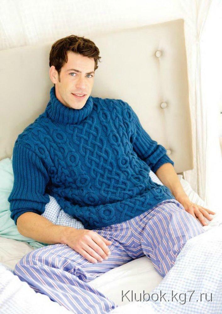 Обалденный мужской свитер с рельефным узором | Клубок