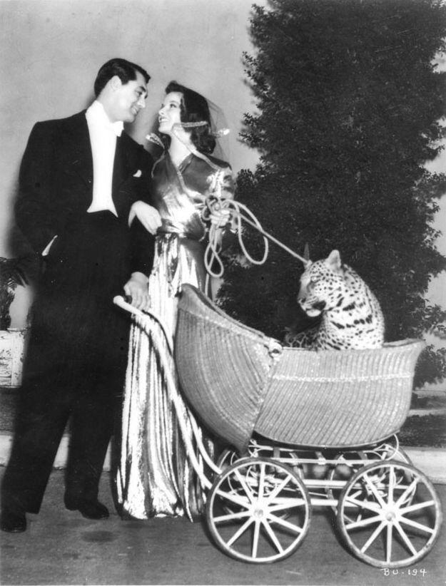 "Cary Grant, Katharine Hepburn, and ""Baby"" behind the scenes of Bringing Up Baby (1937, dir. Howard Hawks)"