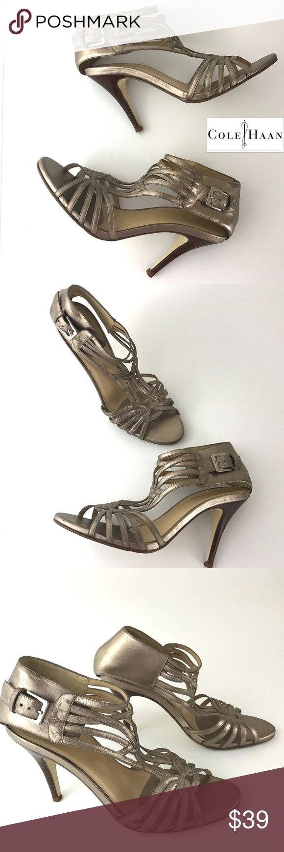 """Cole Haan Strappy Leather Caged Heel Sandals Cole Haan   Strappy Leather Sandal Heels Metallic Caged Shoes  Women's Size 9.5 M   Pre Owned Heels, in Good Shape  Some Scuffing- Any & All Shown in Photos  Original Box is Not included   Heel Height:4""""    Item comes from a pet free/smoke free clean environment  please contact me for any additional questions  I offer combined shipping Cole Haan Shoes Heels"""