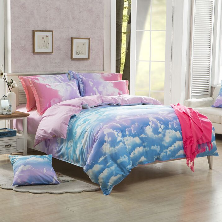 4 pieces suit including (1 bed sheet,1 bedding bag,2 pillowcase) Quantity:4 pieces. Color:galaxy. Suitable for bed size:1.2m(4 ft)bed.1.5m(5 ft)bed.1.8m(6 ft)bed.2m(6.6 ft)bed. Size:1.2mbed: Bedding b