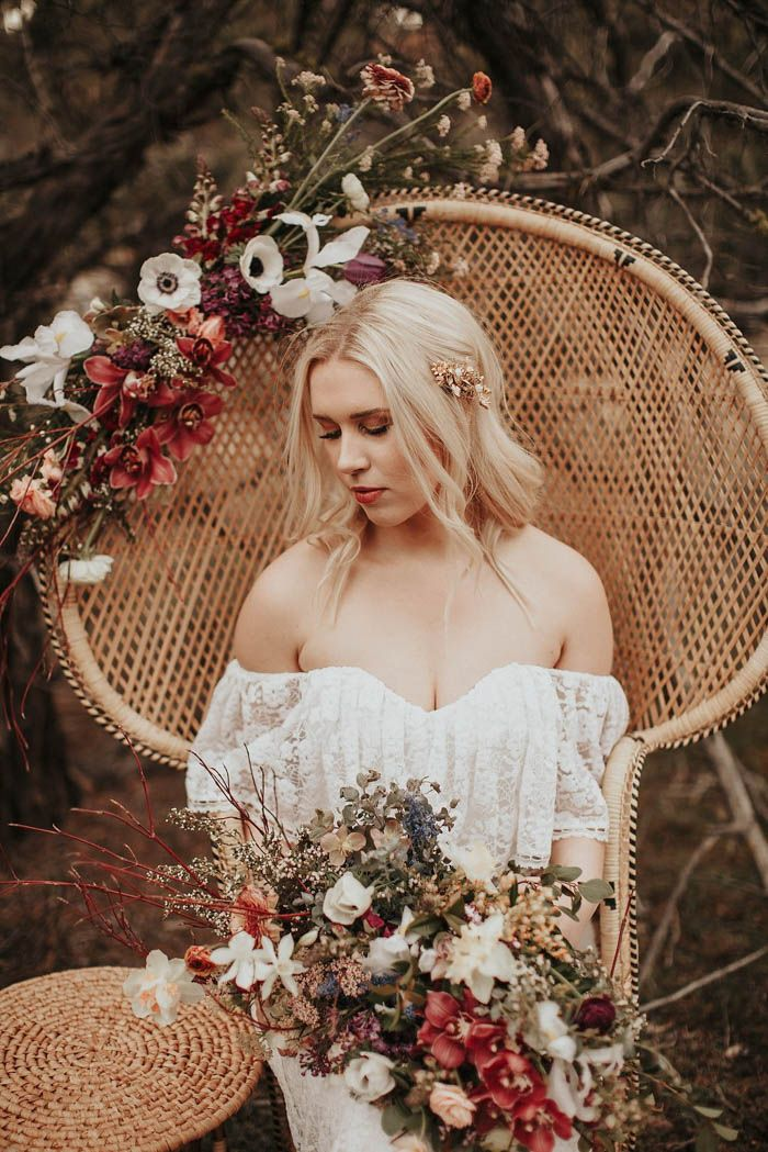 We love the boho bride from this glamping wedding inspiration | Image by  Lieben Photography