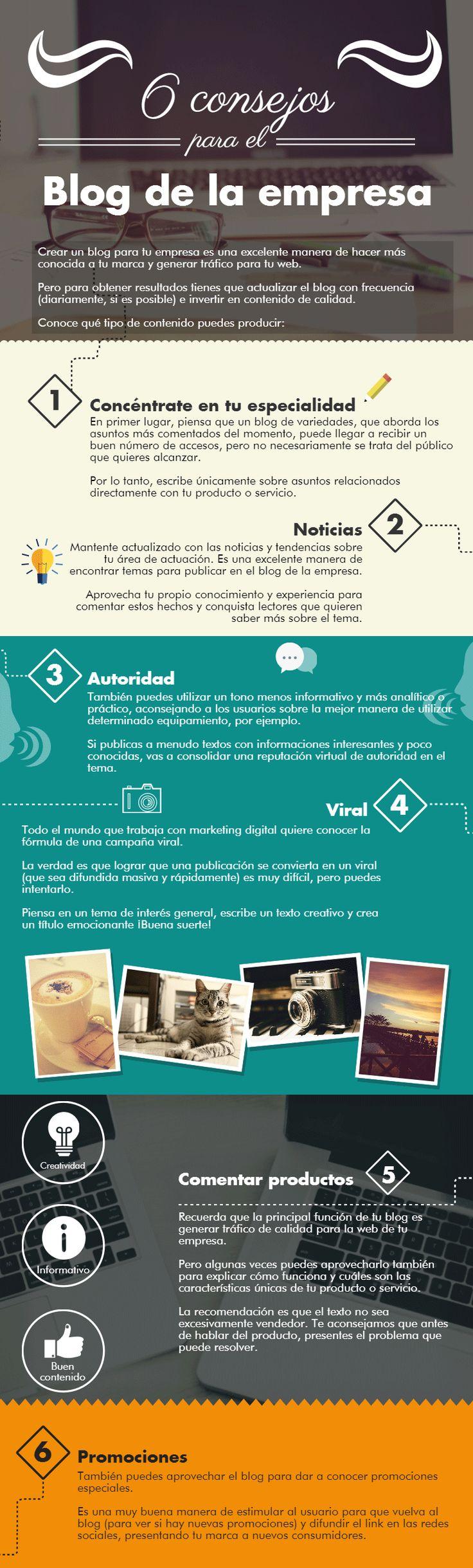 6 consejos para el Blog de la Empresa #infografia #infographic #socialmedia
