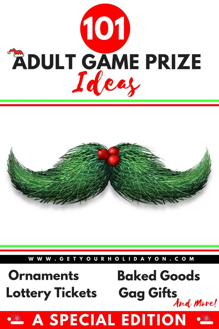 Searching for creative and fun Adult Game Prize ideas? Here is a helpful list for an Ugly Sweater party, holiday party, or Christmas party. #prizes #doorprizes #party #Christmas www.getyourholidayon.com