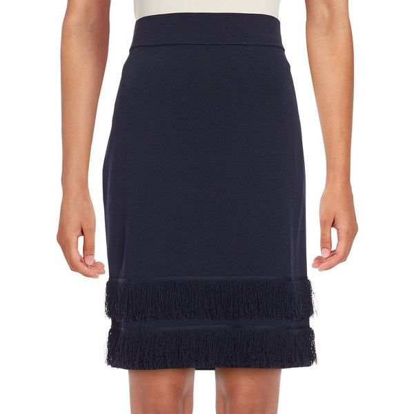 Ivanka Trump Fringe-Trimmed Knit Pencil Skirt ($47) ❤ liked on Polyvore featuring skirts, navy, knit pencil skirt, navy pencil skirt, long navy skirt, long skirts and long knit skirt