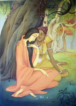 Rajib Gain, Sita Sarama, Wash on Paper,22X30 inches, INR 80,000 / $ 1,397. #IndianArtCollectors  #Art  #ModernArt  #WashonPaper  #OnlinePaintings  #Paintings  #Artworks  #BuypaintingsOnlineIndia