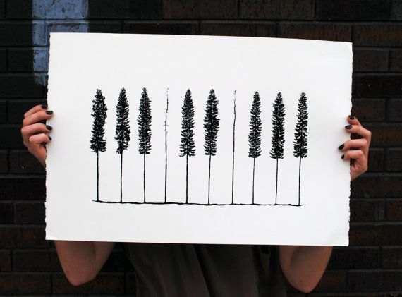 Piano Pines    Handpulled 1 Color Screenprint by HeretoTherePrints, $45.00