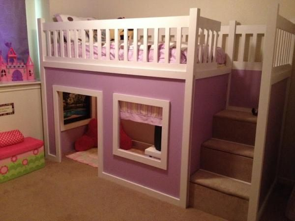 Chloe's Purple Playhouse Bed | Do It Yourself Home Projects from Ana White