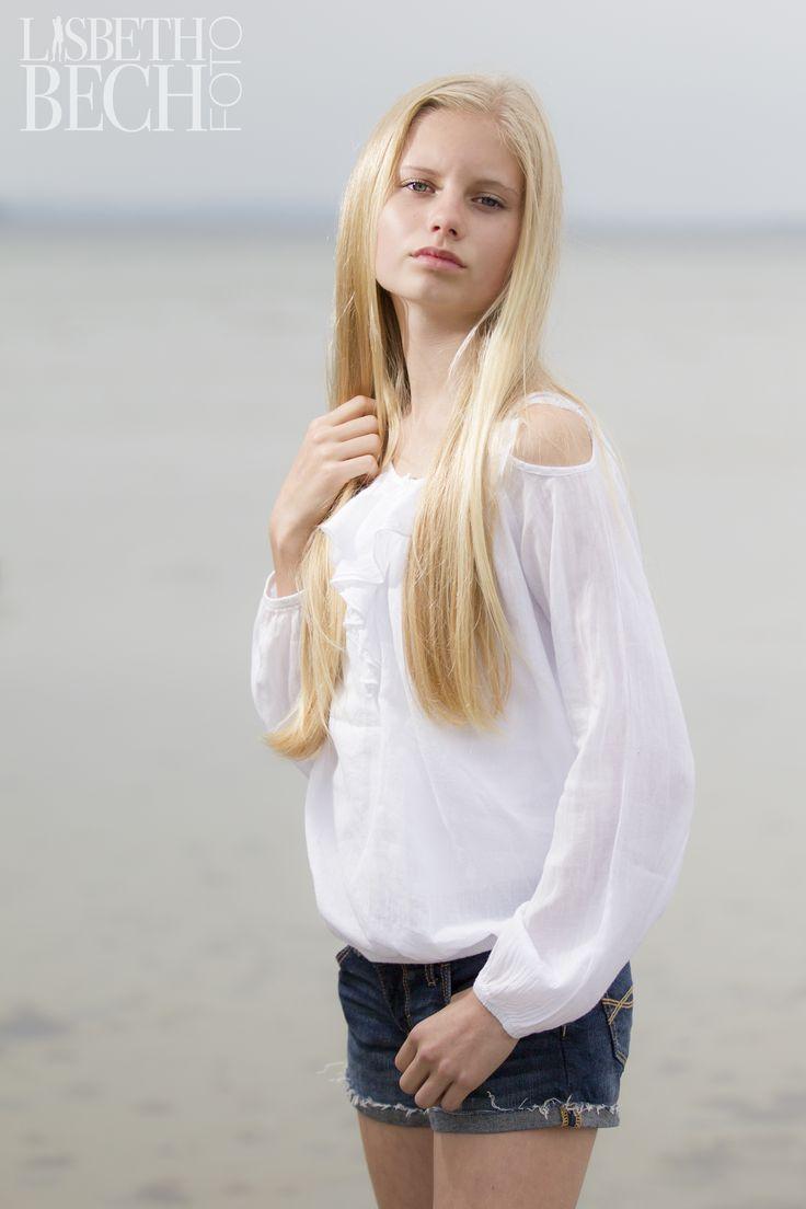 Young girl on the beach at Orø, Denmark