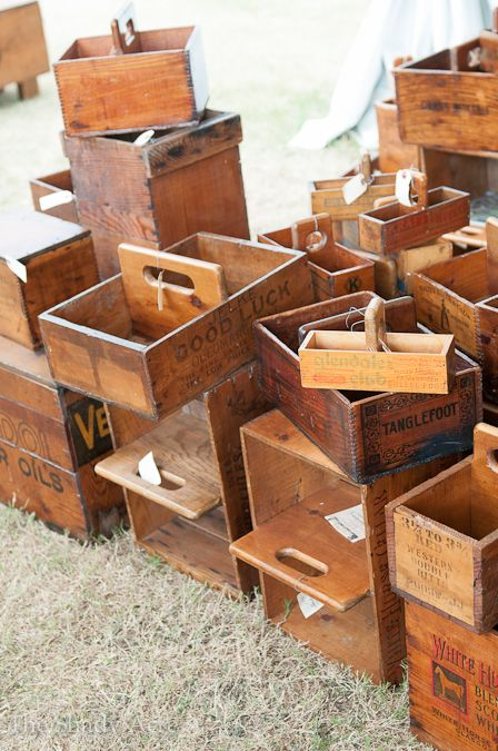 Old boxes made into totes ~ great Idea! ~ ~NMB~