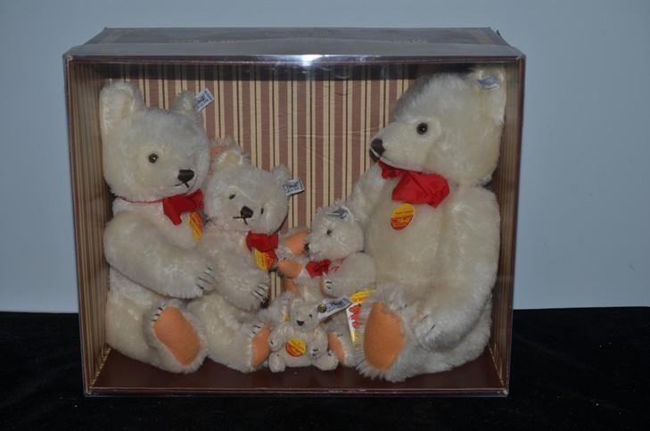 Wonderful Steiff Teddy Bear HUGE Family F Steiff White Mohair Teddy Bears Mint in Box
