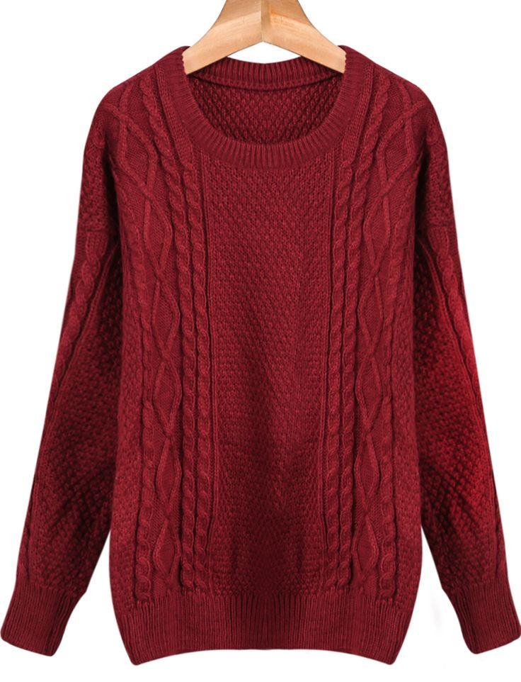 Red Round Neck Long Sleeve Cable Knit Sweater 16.00   For me
