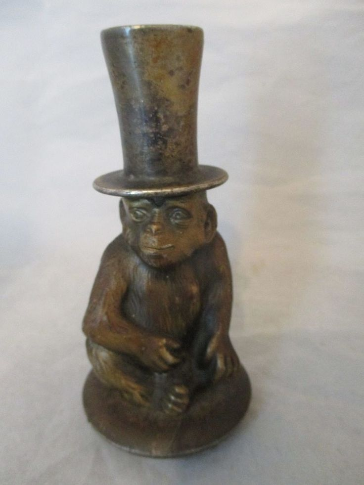 Fabulous Vintage Lighter Wurttemberg Germany Monkey Chimp with Top Hat Ges Gesch Rare Monkey Monkey business and Victorian era