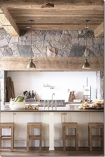 More kitchen details...Ideas, Exposed Beams, S'Mores Bar, Stones Wall, Rustic Kitchens, Range Hoods, Bar Stools, House, Wood Beams