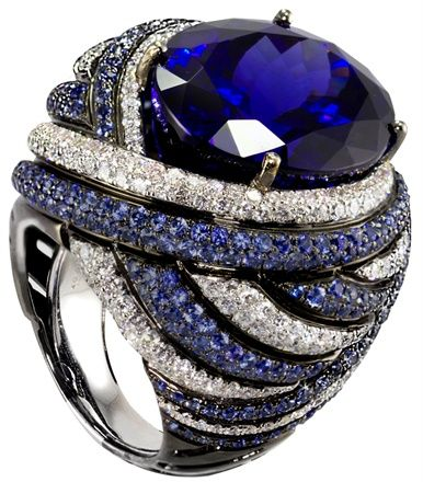Sapphire & Diamond Cocktail Ring, just gorgeous, look at the pave detail!
