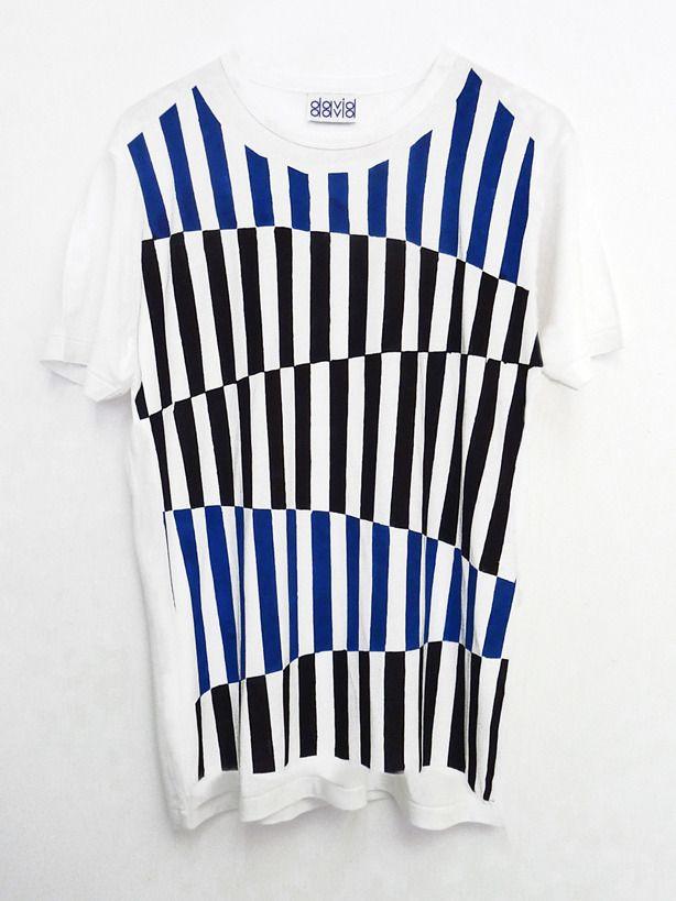 David David® — Hand painted t-shirt, white size XL
