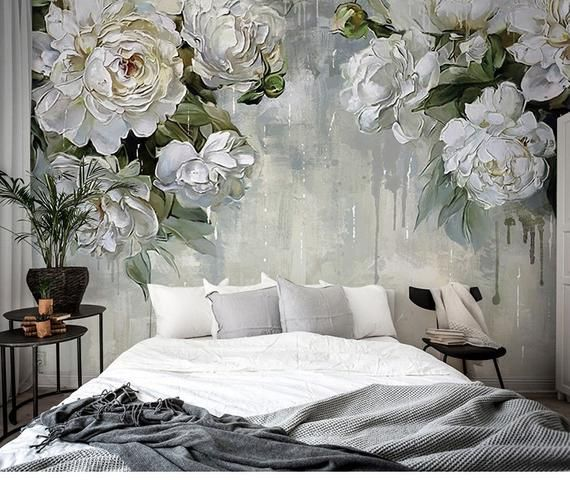 Classic Vintage Grey Floral Wallpaper Grey Backgroud Ivory Flower Wall Mural Big Flowers Theme Wall Art Oil Painting Wa Grey Floral Wallpaper Decor Home Decor